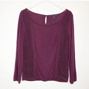 AEO | Purple Lace Embroidered Long Sleeve Size XL